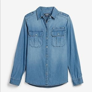 Denim Chambray Oversized Boyfriend Shirt